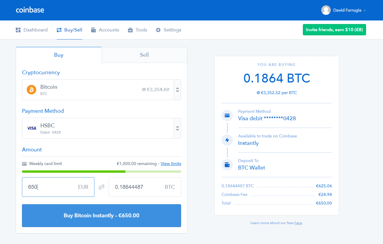 Buy Crypto With FIAT (EUR, USD, GBP) on Coinbase