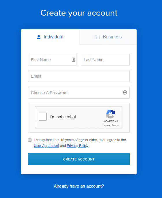 Coinbase Create Account Signup