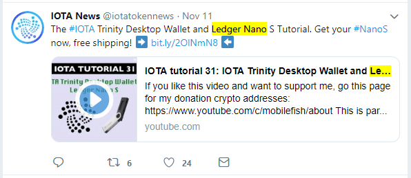 IOTA on Ledger Nano S Wallet Tweet