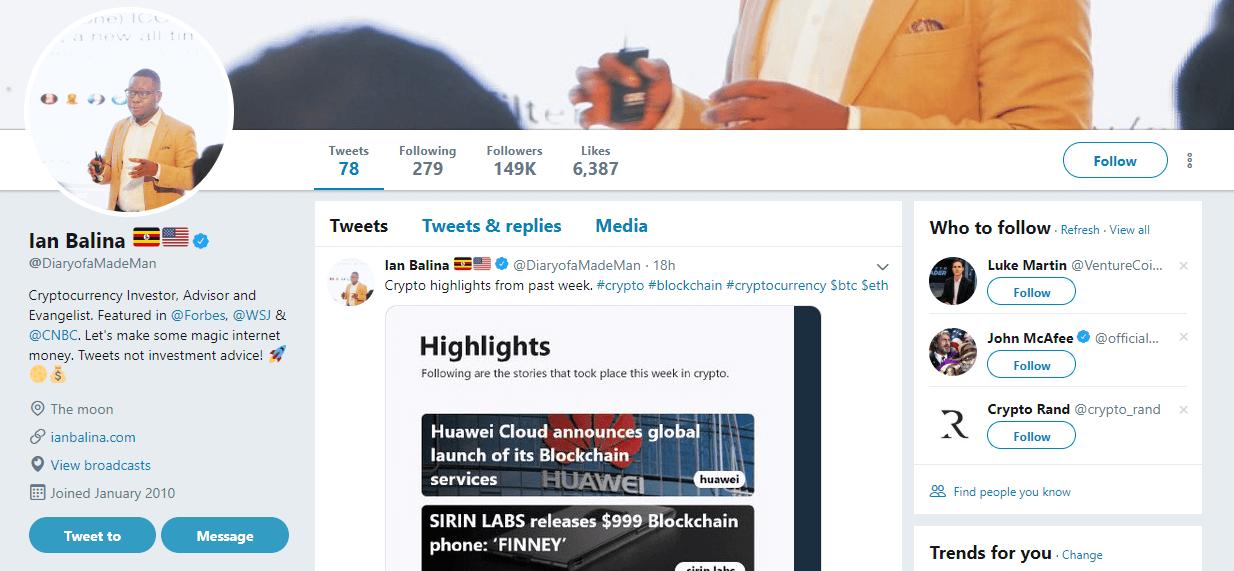 Ian Balina Twitter Account