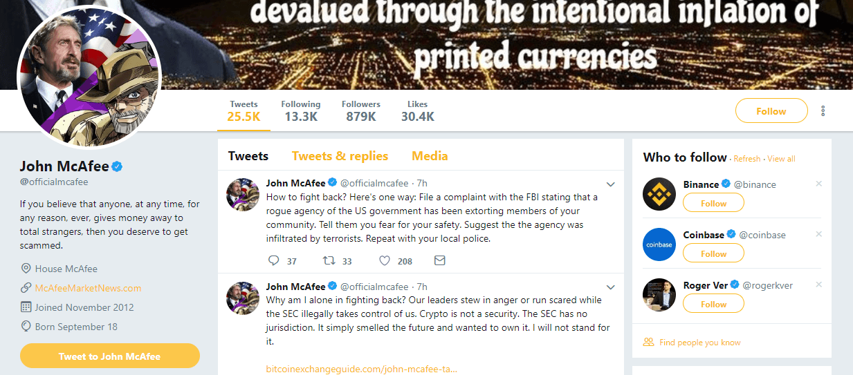 John McAfee Twitter Profile
