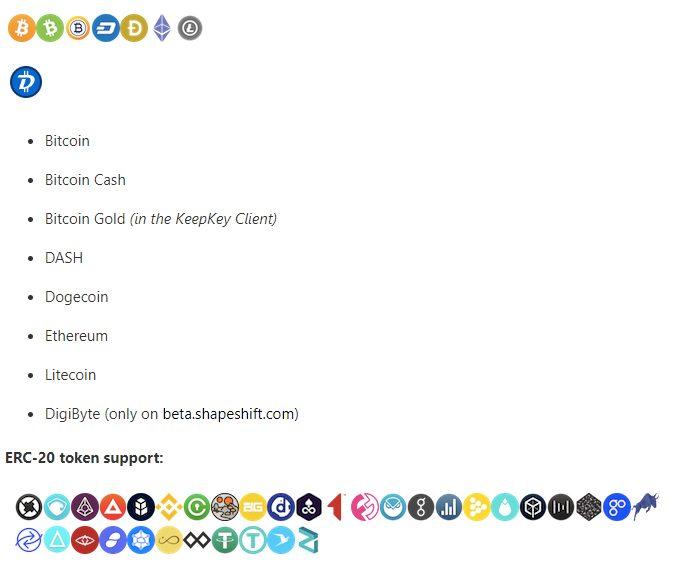 KeepKey Cryptocurrencies