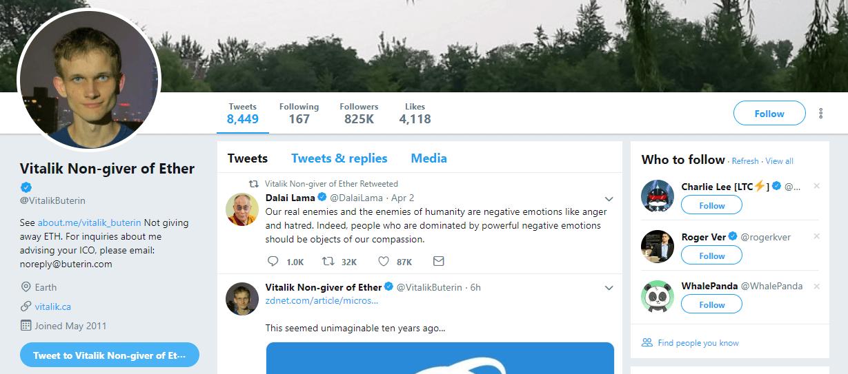 Vitalik Buterin Ether Twitter Account