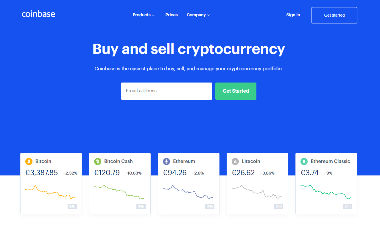 Beginner Bitcoin Exchange Coinbase Homepage