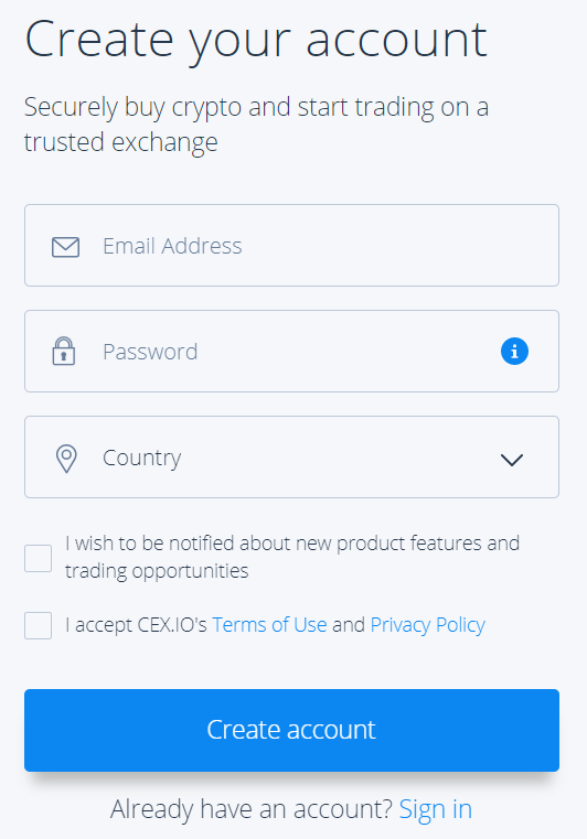 CEXio Sign Up Page