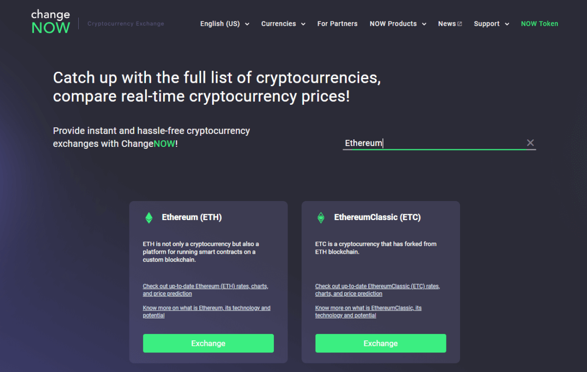 ChangeNow Ethereum Exchange