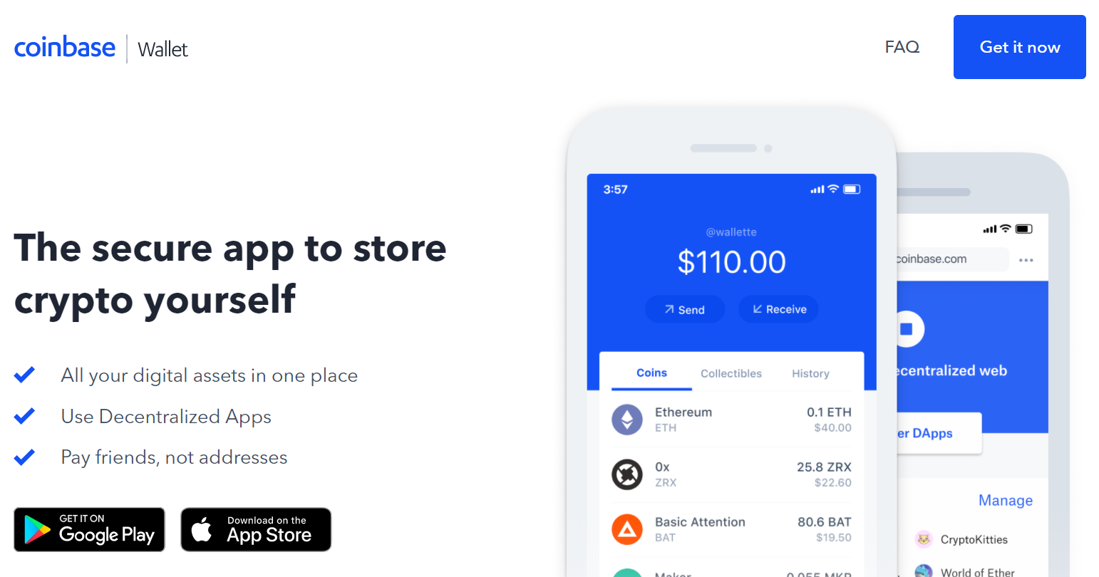 Coinbase Review - Wallet Landing Page