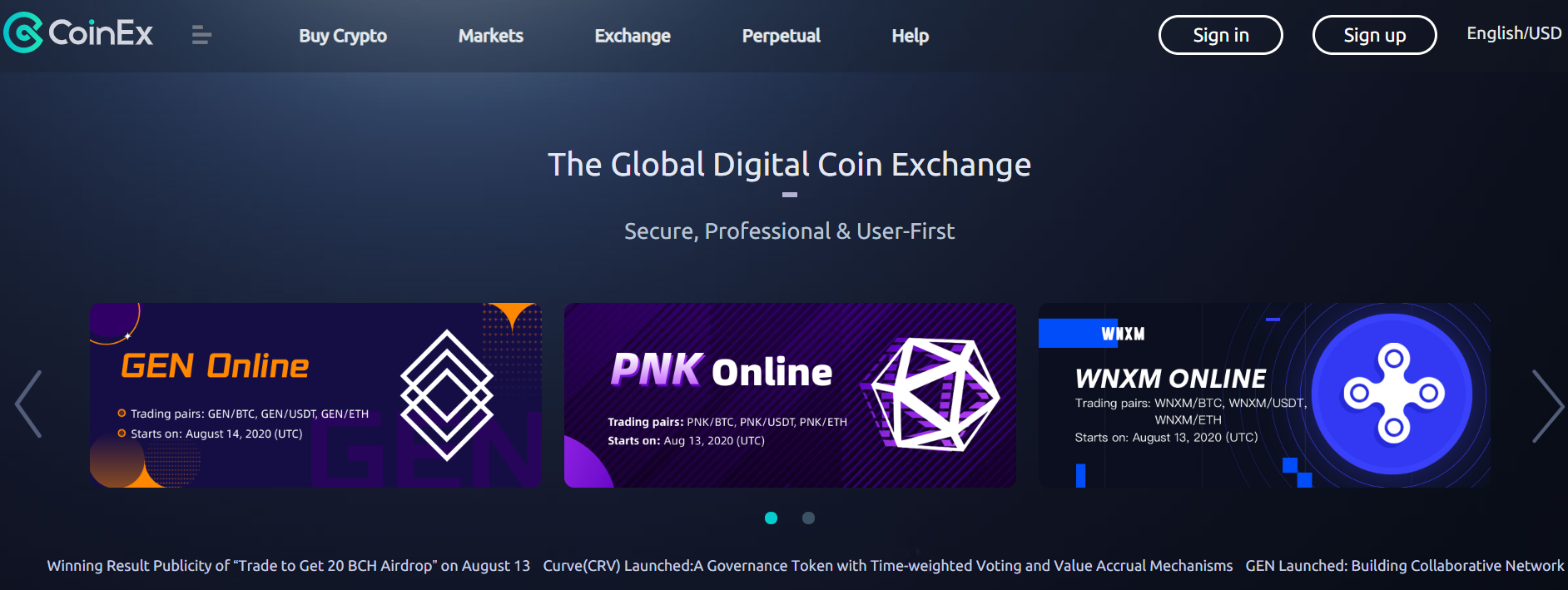 COINEX REVIEW - Landing Page