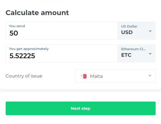 Changelly Buy ETC