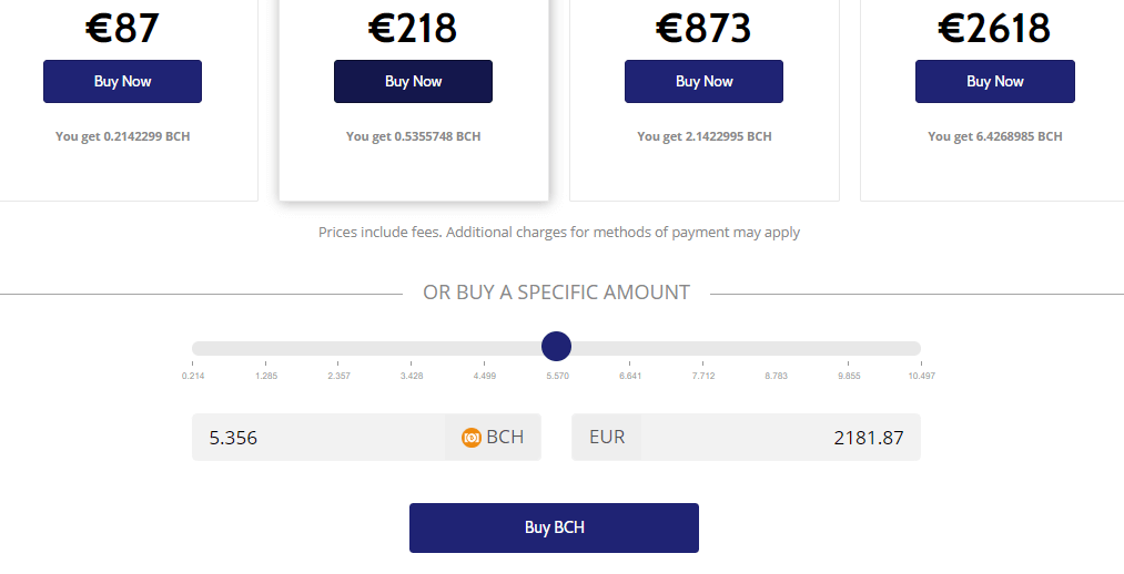 Buy BCH with Coinmama