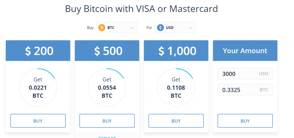 Buying Bitcoin with Visa or Mastercard