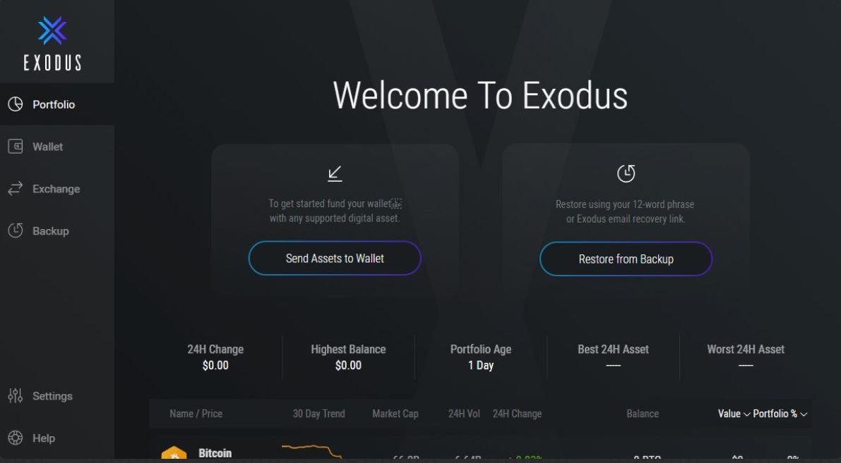 exodus brieftasche erstellen