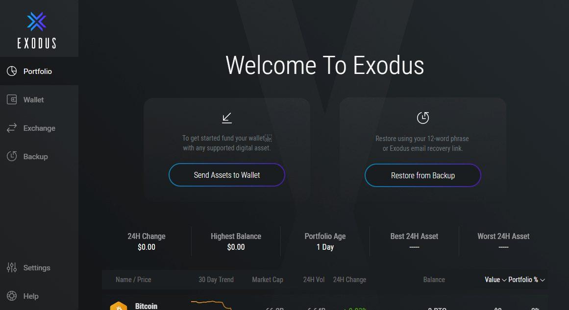 Exodus - Create Wallet