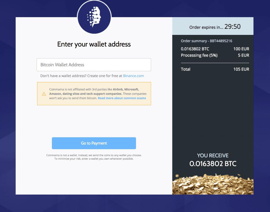 Coinmama Sending Crypto