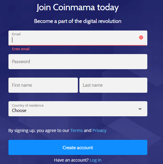 Coinmama - Sign Up