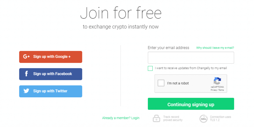Sign Up Changelly
