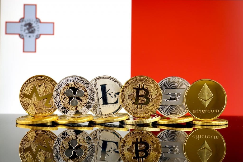Maltese Flag with Different Cryptocurrencies