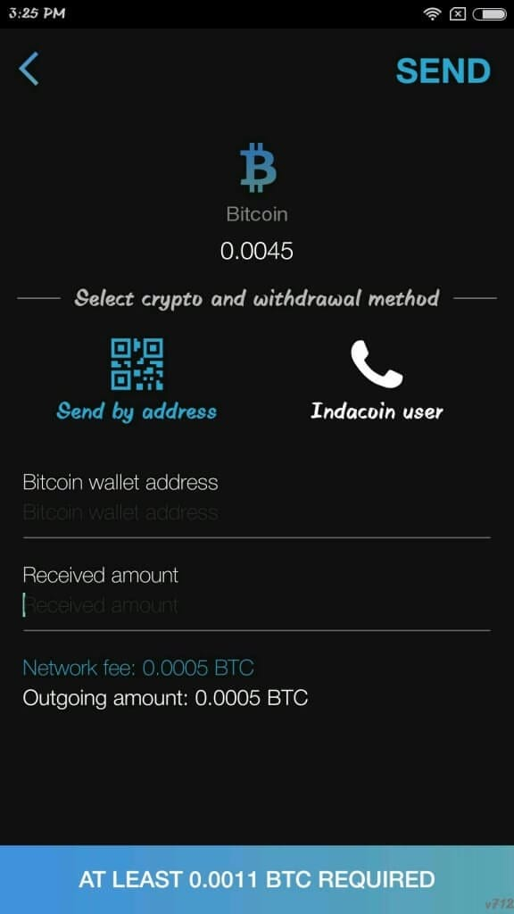 Indacoin wallet send crypto options