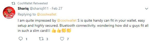 CoolWallet Twitter Comment