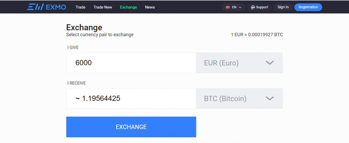 Investing in Bitcoin through exmo exchange