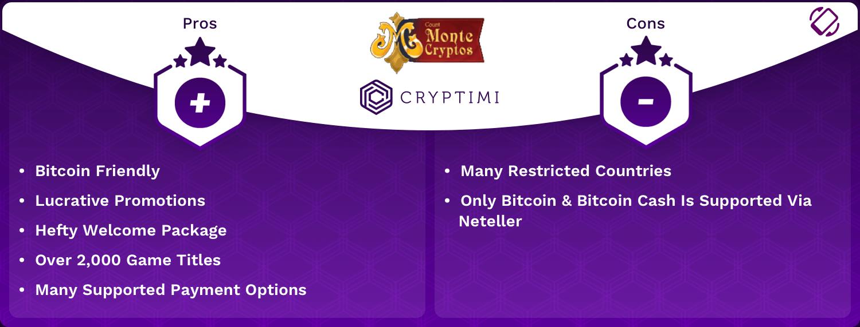 MonteCryptos Pros and Cons Infographic