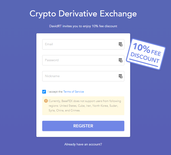 Basefex Exchange 10% Signup Discount
