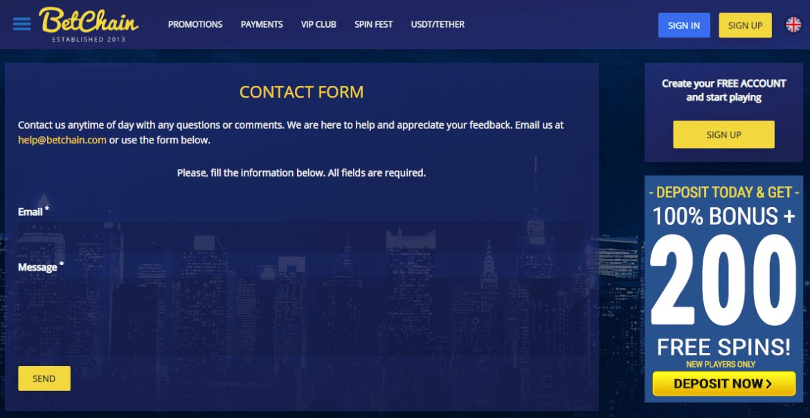 BetChain Contact Form
