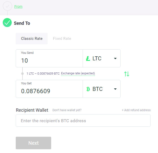ChangeNOW Buy BTC Step 2