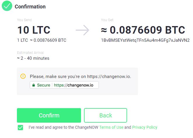 ChangeNOW Buy BTC Step 3