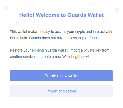 Guarda Wallet Create New Wallet