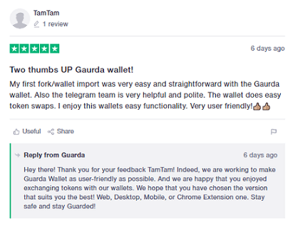 Guarda Wallet - Trustpilot Review