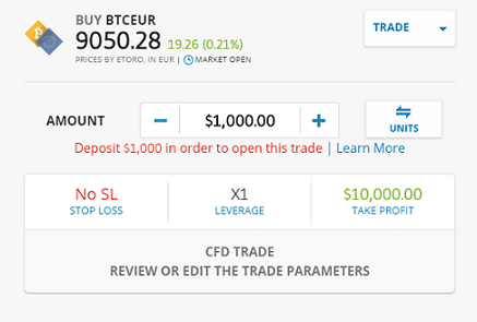 eToro Platform - Buy BTCEUR CFD Screen