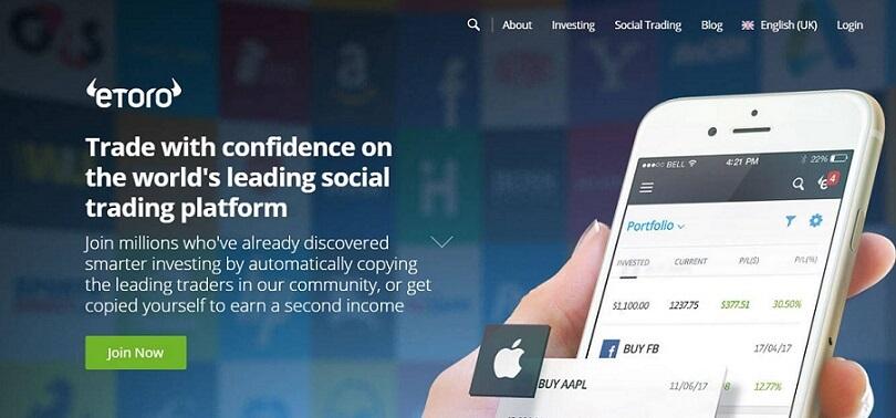 eToro Trading Platform Landing Page