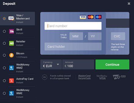 IQ Option Platform Deposit Methods Review