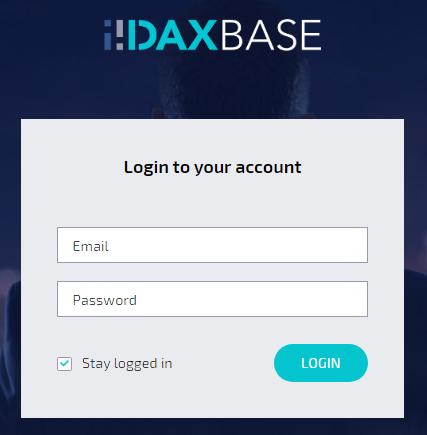 DAXBase Log in Screen