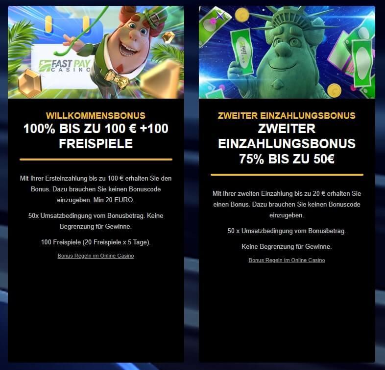 FastPay Casino - Willkommensbonus und Zweiter Einzahlungsbonus