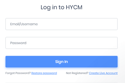 HYCM Log In Screen