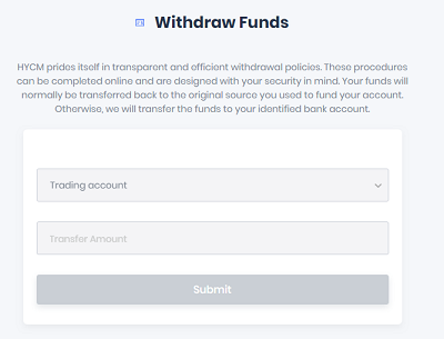 HYCM Withdraw Funds
