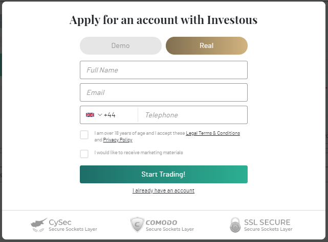 How to Sign up on Investous