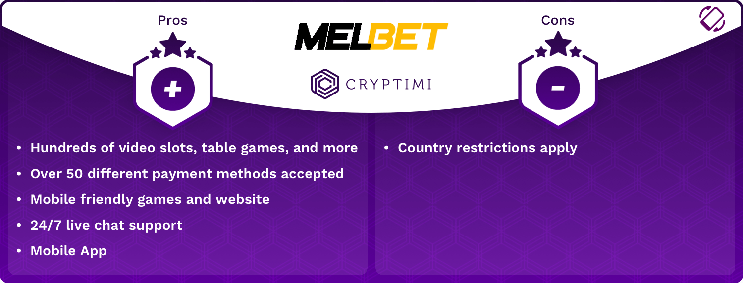 MelBet Pros and Cons Infographic