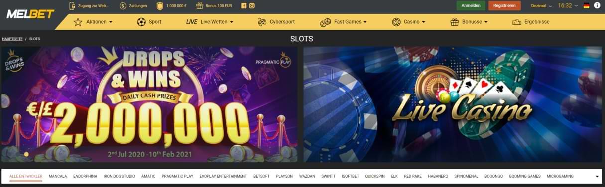 Melbet Startseite Screenshot