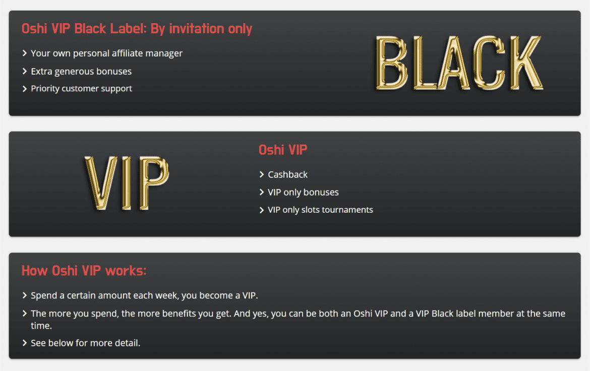 Oshi VIP Black Label Programme
