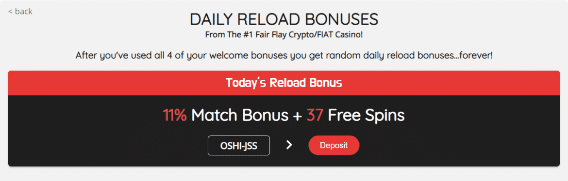 Oshi Casino Daily Reload Bonuses
