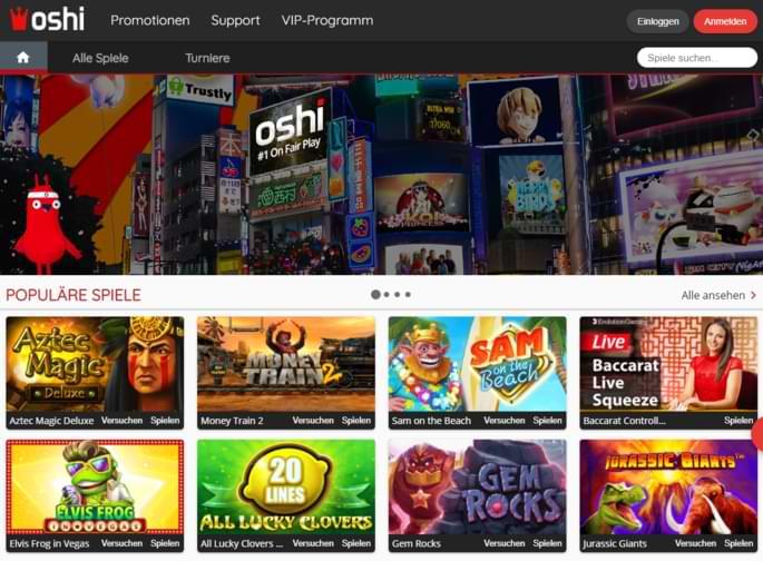 Oshi Casino Startseite Screenshot