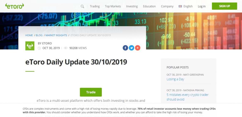 etoro investment daily update