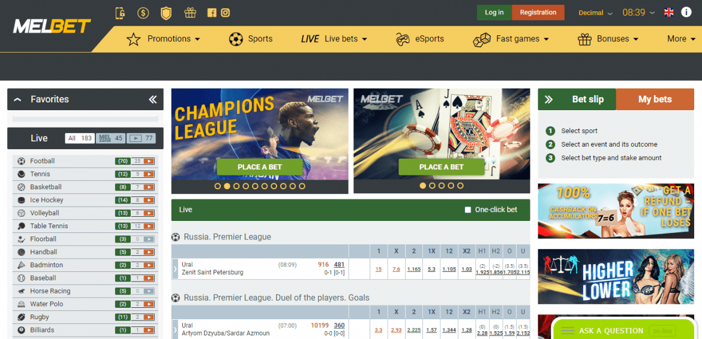 MelBet Casino Landing Page