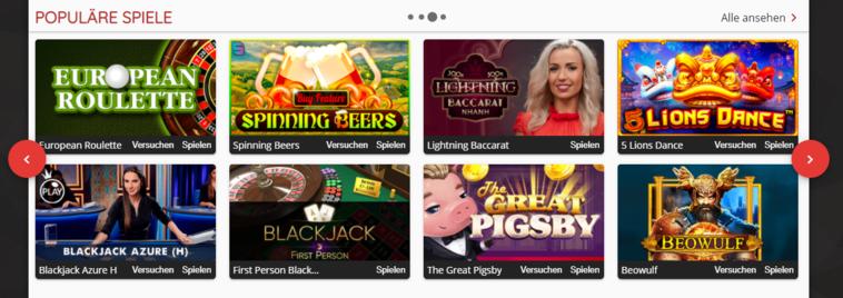 Oshi Casino Spiele-Seite