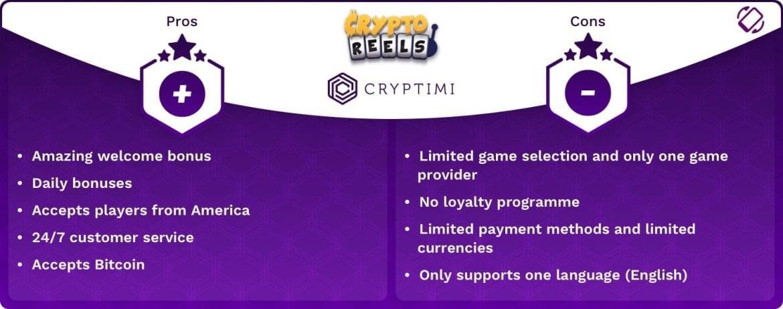 CryptoReels - Pros & Cons