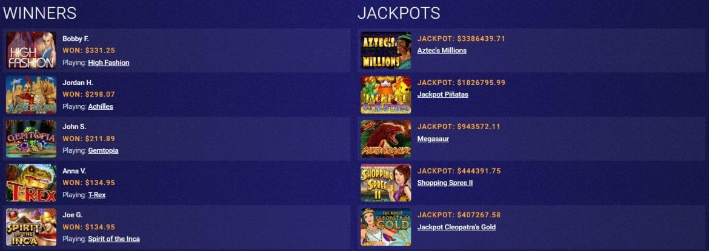 CryptoReels - Winners and Jackpots'Charts