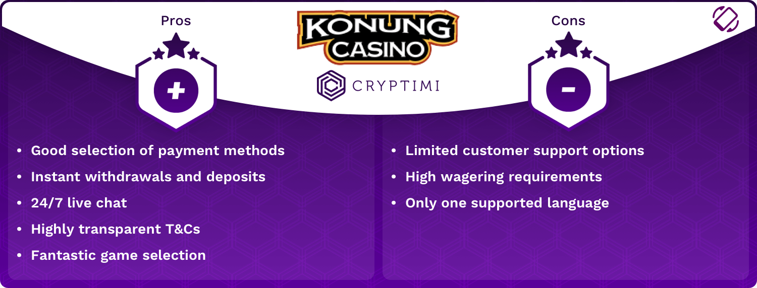 Konung Pros and Cons Infographic